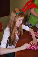 Kat is hard at work wrapping gifts!