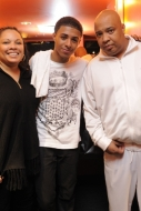 Diggy Simmons with his father Rev Run and mother Justine on the Scream Tour
